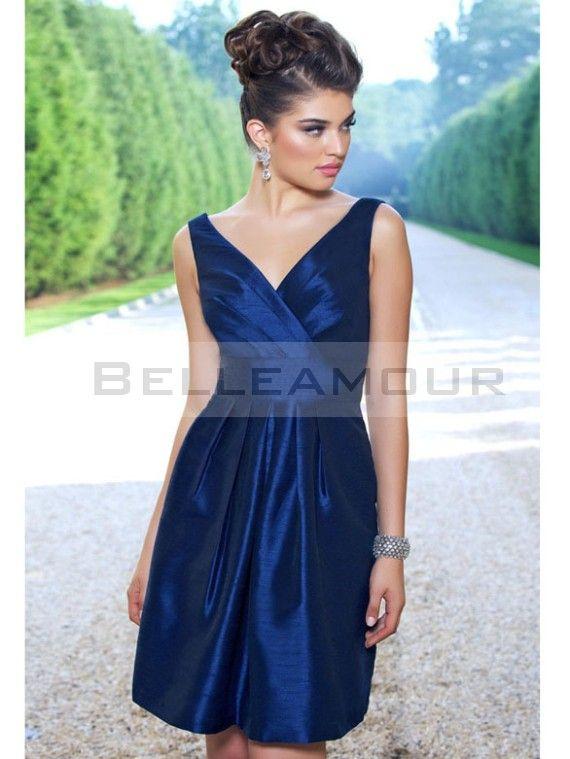 Robe demoiselle d'honneur Courte Gaine Col en V Mini Bleu Taffetas