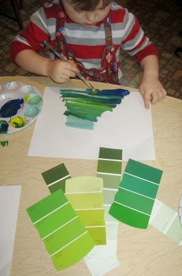 An invitation to mix as many variations of green as they would like.    art and soul preschool #Reggio Emilia