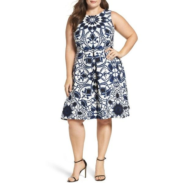 Plus Size Women's Taylor Dresses Mirror Print Fit & Flare Dress ($59) ❤ liked on Polyvore featuring plus size women's fashion, plus size clothing, plus size dresses, navy ivory, plus size, fit flare dress, navy blue fit and flare dress, taylor dresses, navy plus size dress and winter white dress