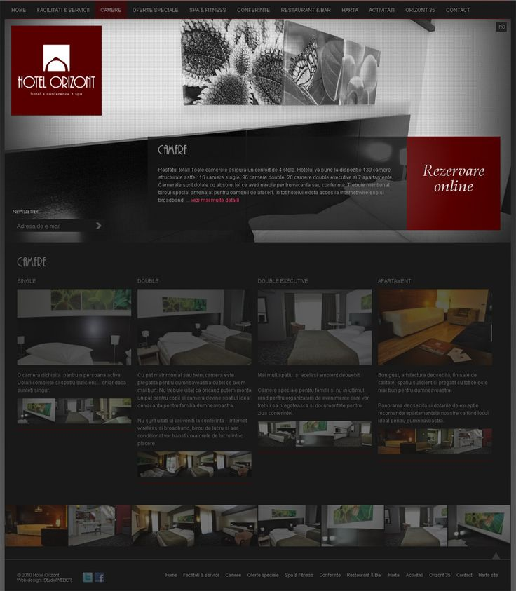 Hotel Orizont: Presentation web site for a 4 star hotel in Predeal, Romania. Classy, elegant style on a dark background: http://www.hotelorizont.ro