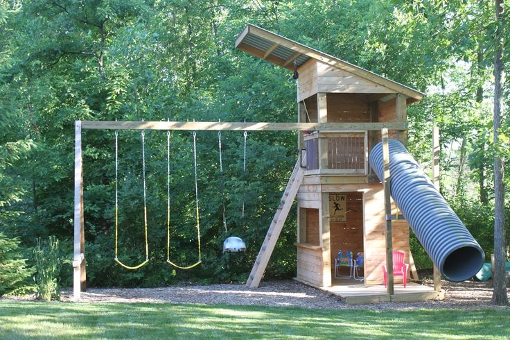 "http://john.connollyclan.com/search?q=clubhouse John says ""Pam has suggested that I post some pictures of the swingset we made for our kids, so here they are. Ours is larger, cheaper, sturdier, and more eccentric, than the kits we could find in stores. Plus, the kids built it from scratch, with our help."""