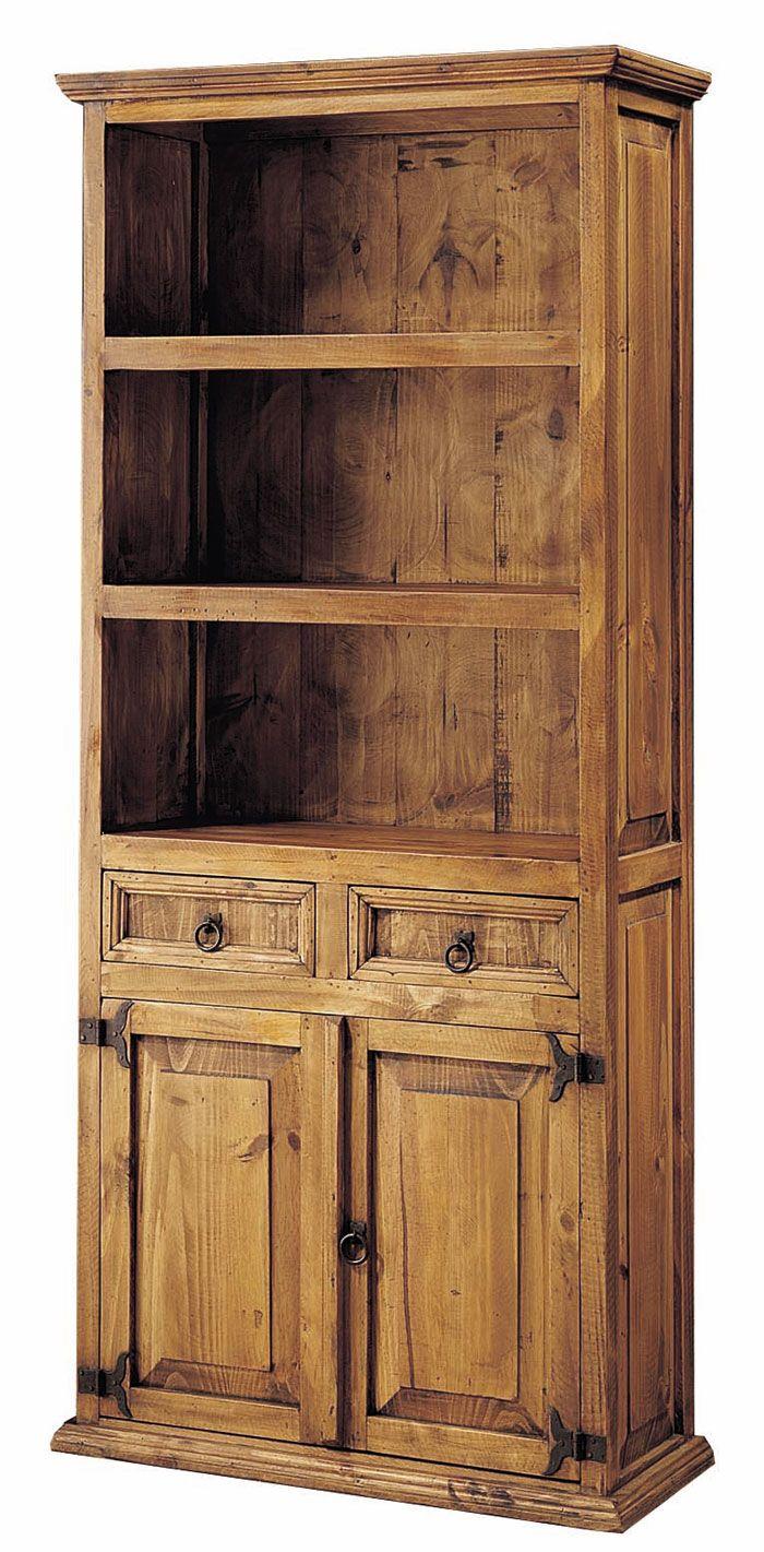 Librería rústica para libros formada por 2 estantes, 2 puertas y 2 cajones, esta y muchas otras en: http://www.rusticocolonial.es/mueble-rustico-y-mueble-mejicano-de-gran-calidad-al-mejor-precio/muebles-de-salon-rusticos-y-mejicanos-de-gran-calidad-al-mejor-precio/busca-tu-mueble-de-salon-rustico-por-colecciones/coleccion-mejicano