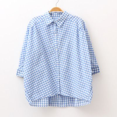Vintage batwing sleeve sky blue plaid shirt women cotton blouse $21.90