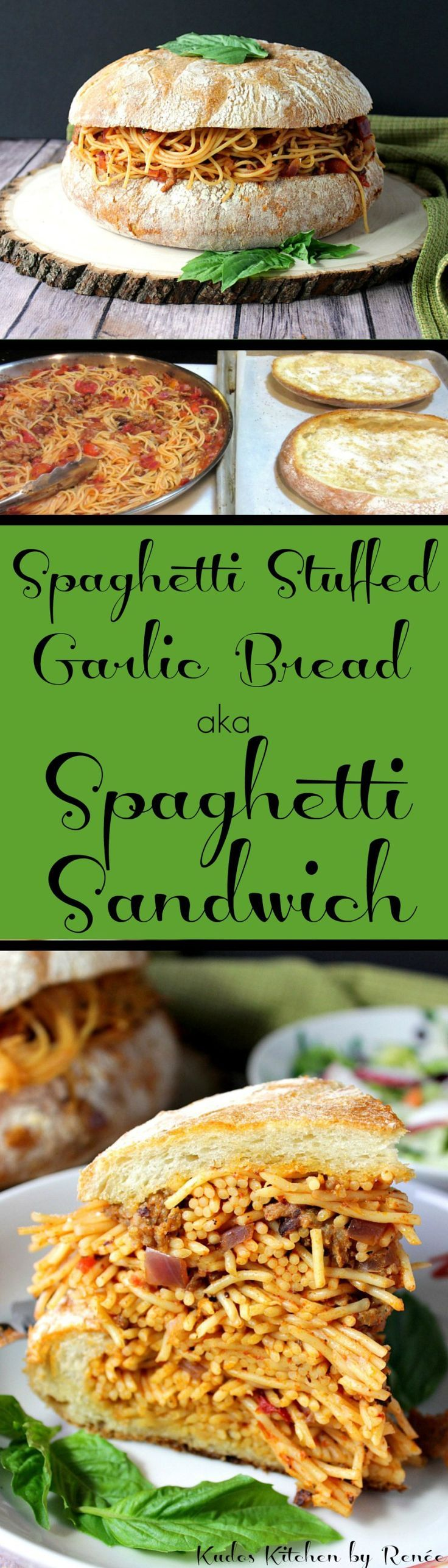 What do you get when you combine two tasty family favorites into one fantastically fun dinner? Spaghetti Stuffed Garlic Cheese Bread, that's what!