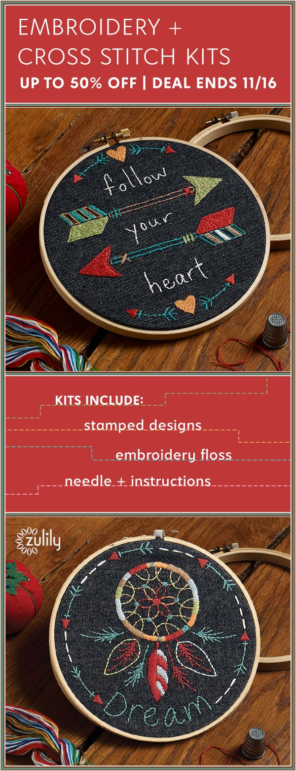 Sign up to shop embroidery and cross-stitch kits, up to 50% off. Whether you're already an expert or just starting a new hobby, this collection features helpful guides and tools to start crafting. Learn new embroidery and cross-stitch techniques through these products. Deal ends 11/16.