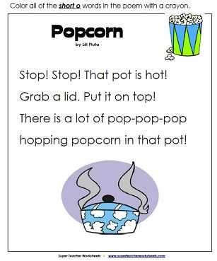 "Popcorn is a fun, easy-to-read poem with lots of ""short o"" words."