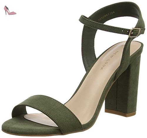 New Look Strike - Sandales à talon - femme - Green (Dark Khaki) - 38 (UK 5) - Chaussures new look (*Partner-Link)