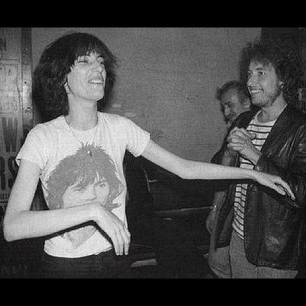 Patti Smith & Bob Dylan, 1976 - note Patti's Keith Richards tee. xo  Photo via @wfmu
