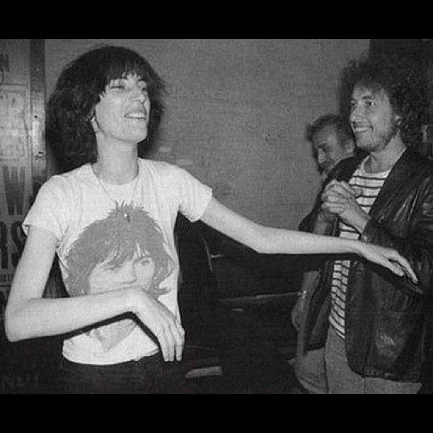 Patti Smith & Bob Dylan, 1976 - note Patti's Keith Richards tee. xo  Photo via @wfmu