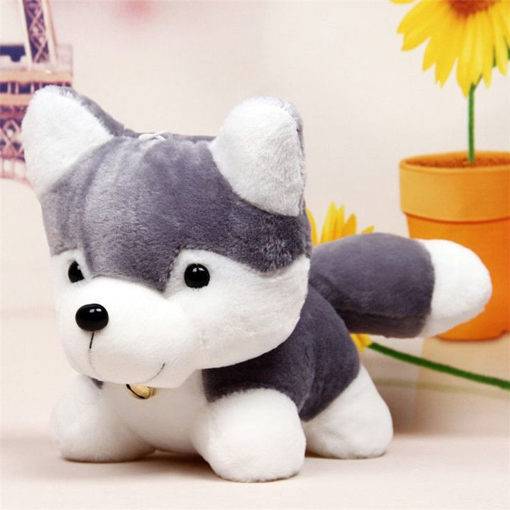 12 Inches Hot Popular Gray White Color Stuffed Plush Lovely Husky Soft Toy #Handmade