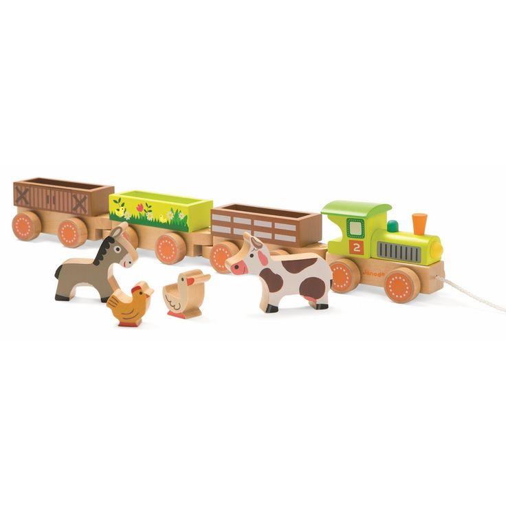 Каталка на веревочке поезд Ферма с животными, 3 вагончика