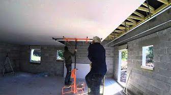plafond placo sous hourdis béton en suspente à bascule étape 5/8 - YouTube