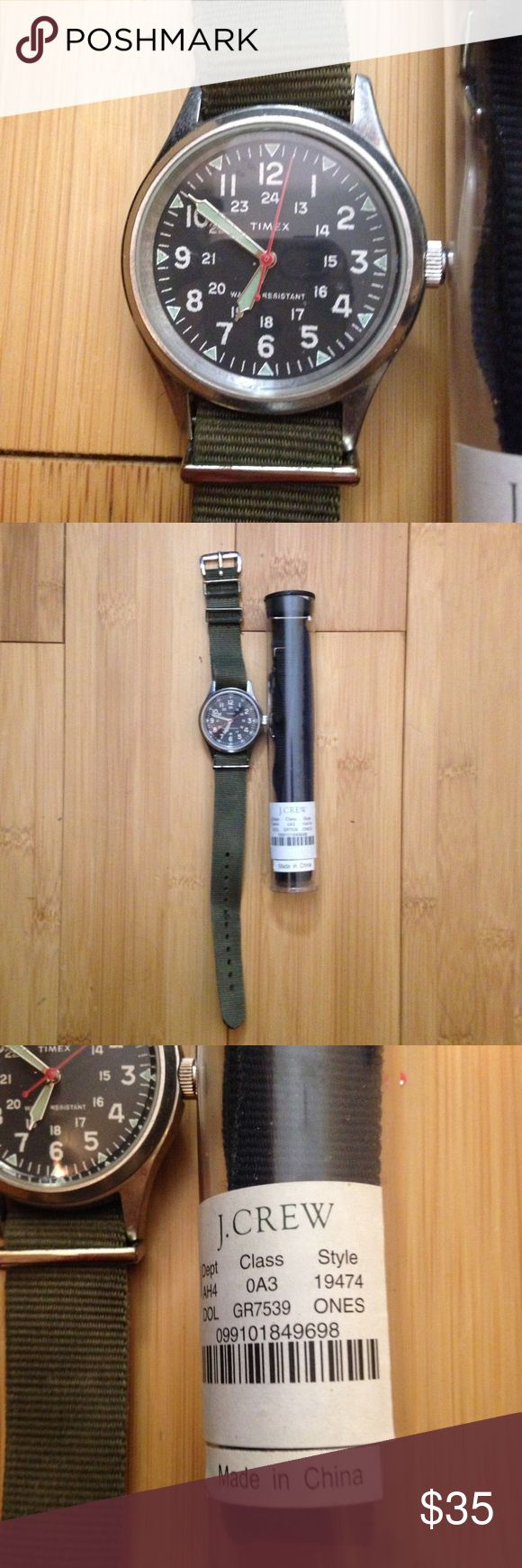 Timex military watch by JCrew with extra band. Timex military watch by JCrew with extra band.  Excellent condition. Timex Accessories Watches