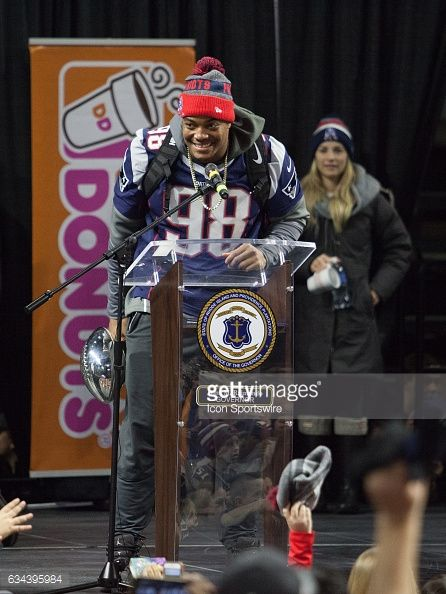 New England Patriots defensive end Trey Flowers addresses the crowd during the Patriots Victory Rally at the Dunkin Donuts Center on February 7 in...