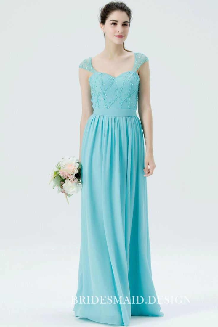 Sweet and Cute Pool Blue Sequined Sweetheart Cap Sleeve Long Bridesmaid Dress