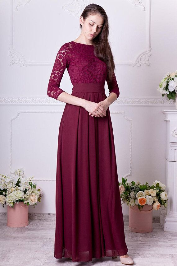 85f04dbe74de Burgundy bridesmaid dress long. Floral lace formal gown with sleeves.  Modest evening dress plus size