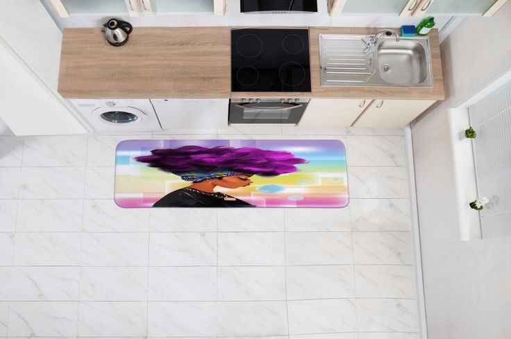 "Amazon.com: A.Monamour Traditional African Black Women With Purple Hair Afro Hairstyle Watercolor Portrait Picture Print Flannel Microfiber Anti-Slip Bath Mat Rug for Bathroom Bedroom Floormats 40x120cm / 16""x48"": Home & Kitchen"