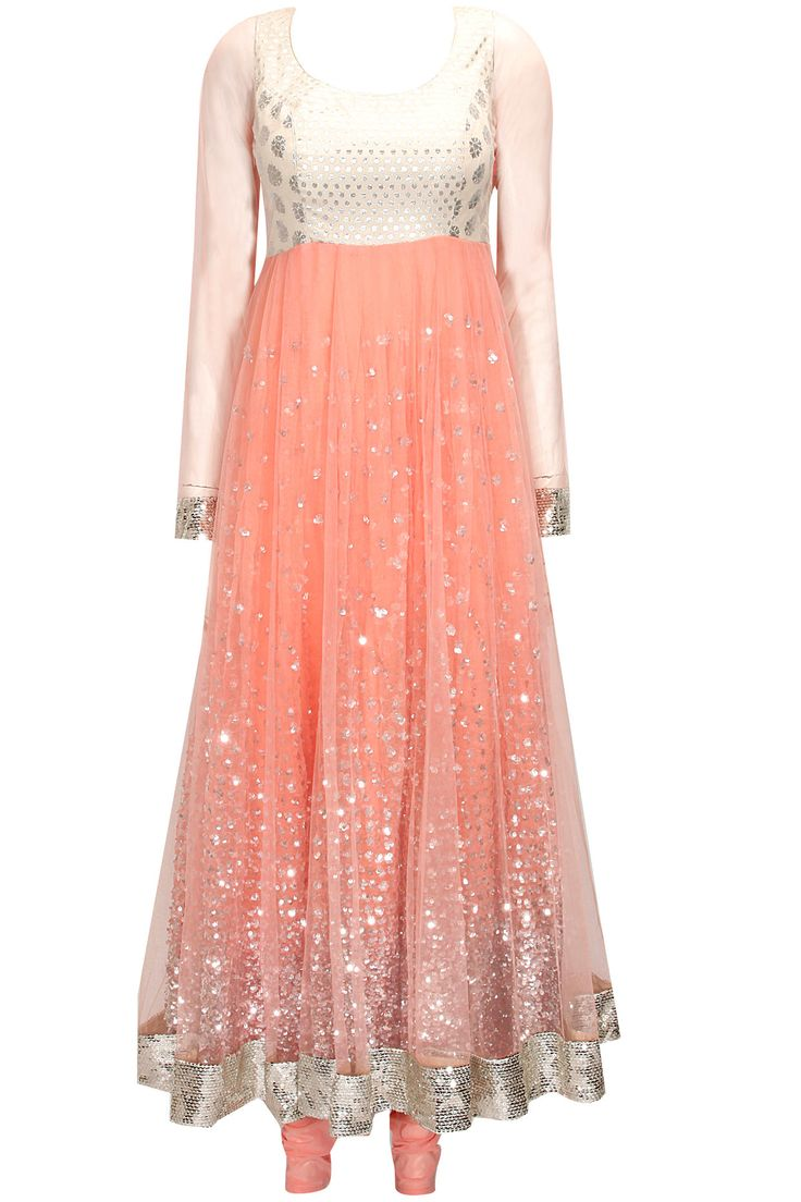 Peach sequins embroidered anarkali suit by Abhinav Mishra.  Shop at : http://www.perniaspopupshop.com/designers/abhinav-mishra  #shopnow #perniaspopupshop #abhinavmishra