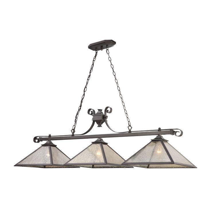 Plano 3 Light Billiard In Iron Rust With Mercury Glass