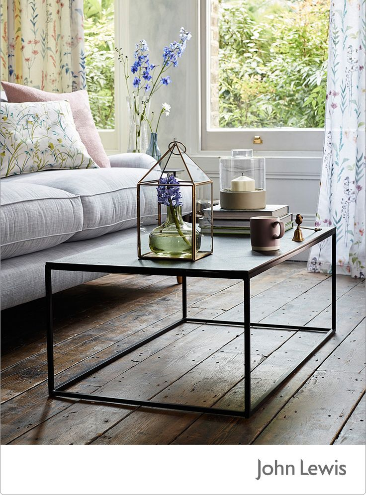 This month's EDIT is inspired by our Leckford Estate in Hampshire, bringing you the colour and motion of country gardens in spring. This coffee table features sharp geometric styling with its rectangle surface and cuboid frame. Made from aluminium with iron legs, this table bears contrast in the serene surrounds of your living room. Finish creating the centrepiece with a casual scattering of your most treasured pieces, organic tableware and your favourite reads.