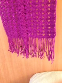 Sequined magenta scarf, hand crocheted in a shell pattern with a black beaded fringe from: www.westendco.etsy.com
