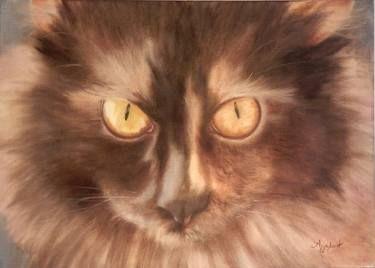 "Saatchi Art Artist ΑγγελικΗ  Aggeliki; Painting, ""Selini the Siberian"" #art  Oil on Canvas.  Size: 50 H x 70 W x 2 cm  Siberian cat, black brown, gold eye, tortie"