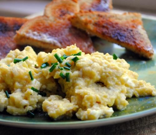 Sublime Scrambled Eggs by Gordon Ramsay from Food.com:   								Posting for ZWT6 for Britain Region.  You should be warned that after eating these eggs, you'll never want those overcooked tasteless eggs most people prepare ever again! If you have a hard time finding the Creme Fraiche, you can substitute it with sour cream.  The key to making creamy, fluffy scramble eggs is the technique.