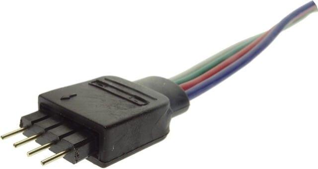 MUFA ALIMENTARE BANDA RGB - CONTROLER faciliteaza conexiunea benzii LED la controller-ul cu telecomanda. Face conexiunea intre la banda LED RGB cu cei 4 pini si cele 4 fire ale controller-ului, respectand ordinea si pozitia culorilor si cea a plusului.
