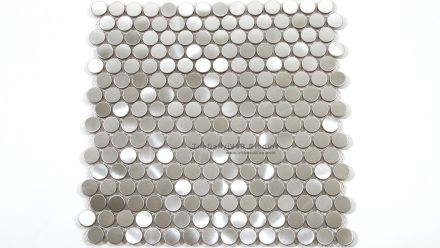 Brushed Steel Penny Round Mosaic  #tiledaily #tiles #wall #backsplash #metallic #textured #interiordesign #architects #decor #home #building #material #feature #kitchen #porcelain #tiledaily #silver #penny #round #circle #mosaic #steel #tiledailyshop #floor #sale