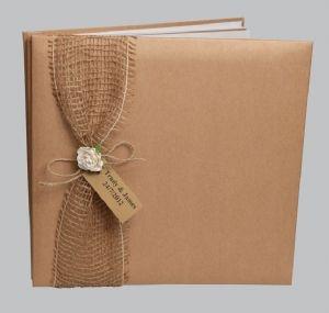 Rustic hessian wedding guest book
