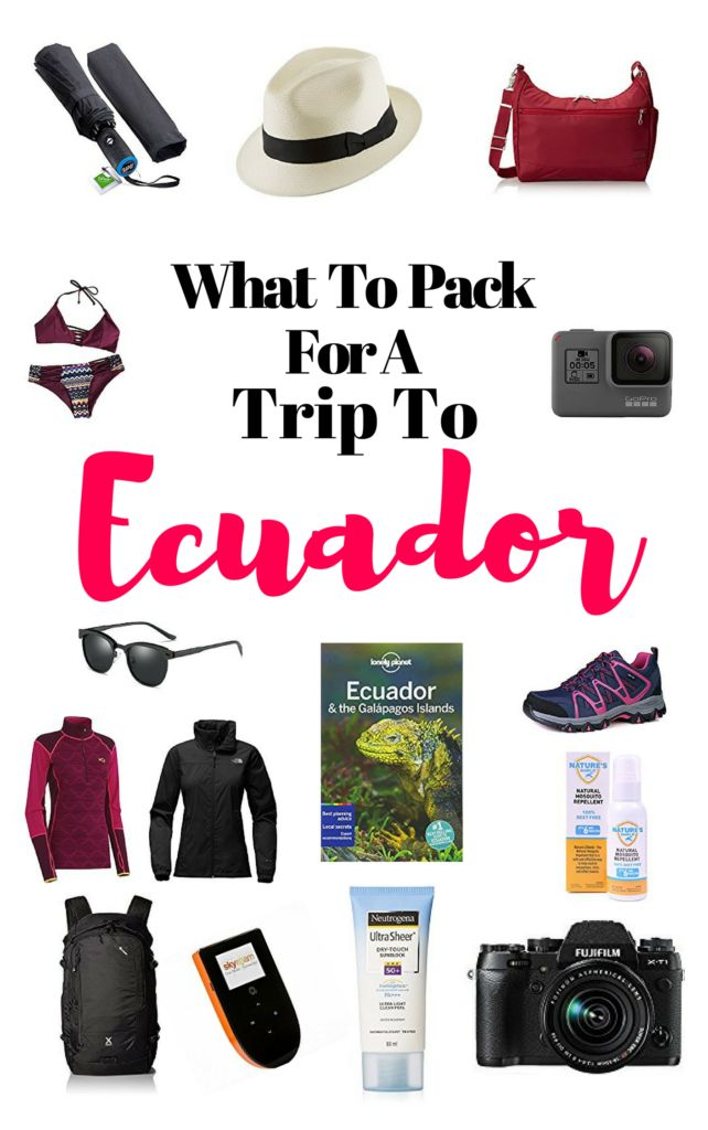 Ecuador is a small country in South America.  It has four regions: Jungle, Andes, Coast and The Galapagos. This article covers an overall packing list of what you should pack for a trip to Ecuador. The Viking Abroad #ecuador #southamerica #packinglist