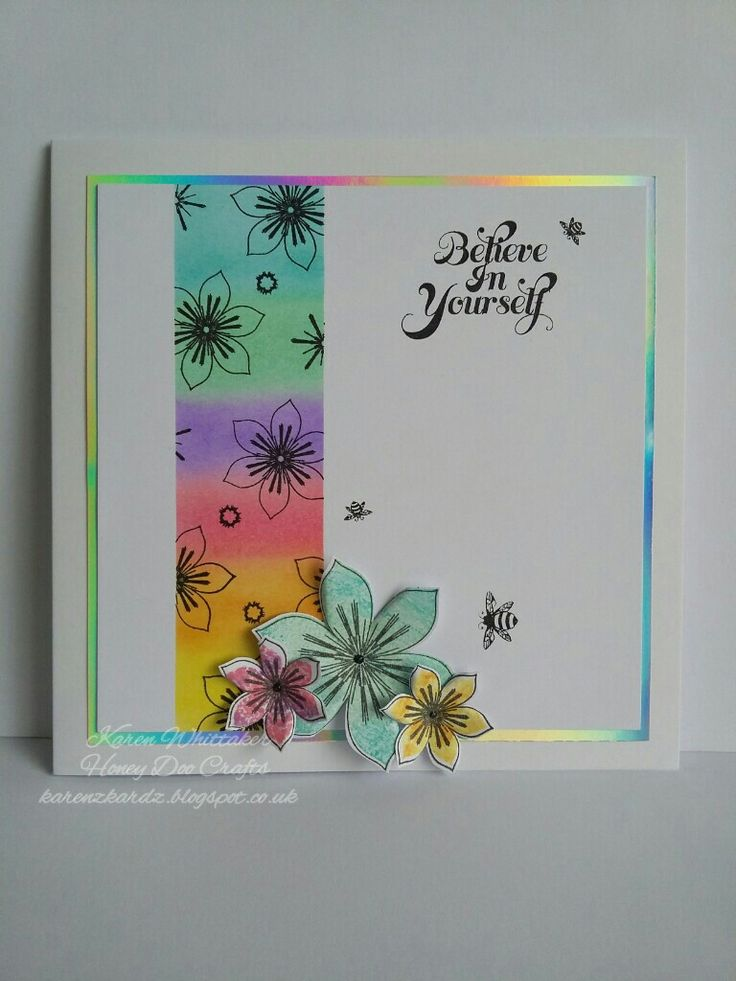 Mystical flowers from Honey Doo Crafts  #honeydoocrafts #mysticalflowers #flowers  #dtsample #rainbow #distressinks #bee #stamping #stamp #cardmaking #card #creative #craft #ilovetocraft