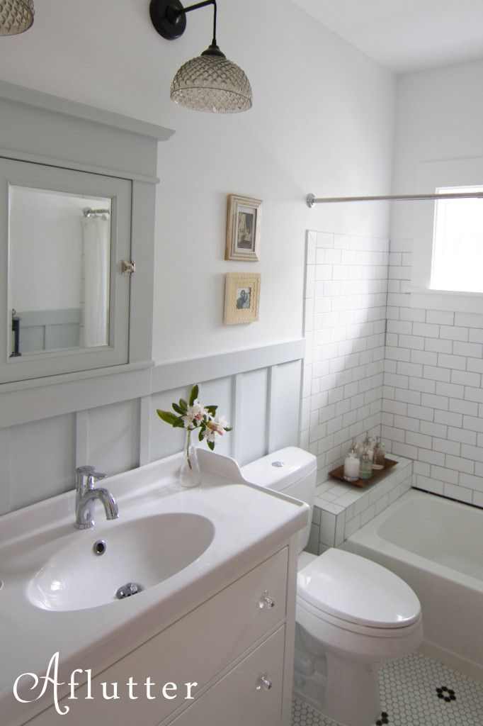 love all the materials: hex tile, subway tile, board and batten, vanity and sink, lights, colors
