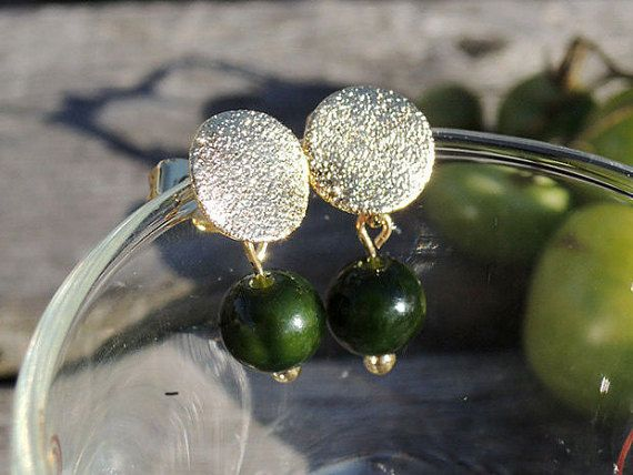 Hey, I found this really awesome Etsy listing at https://www.etsy.com/listing/256690237/dangle-earrings-darkgreen-gold-stud