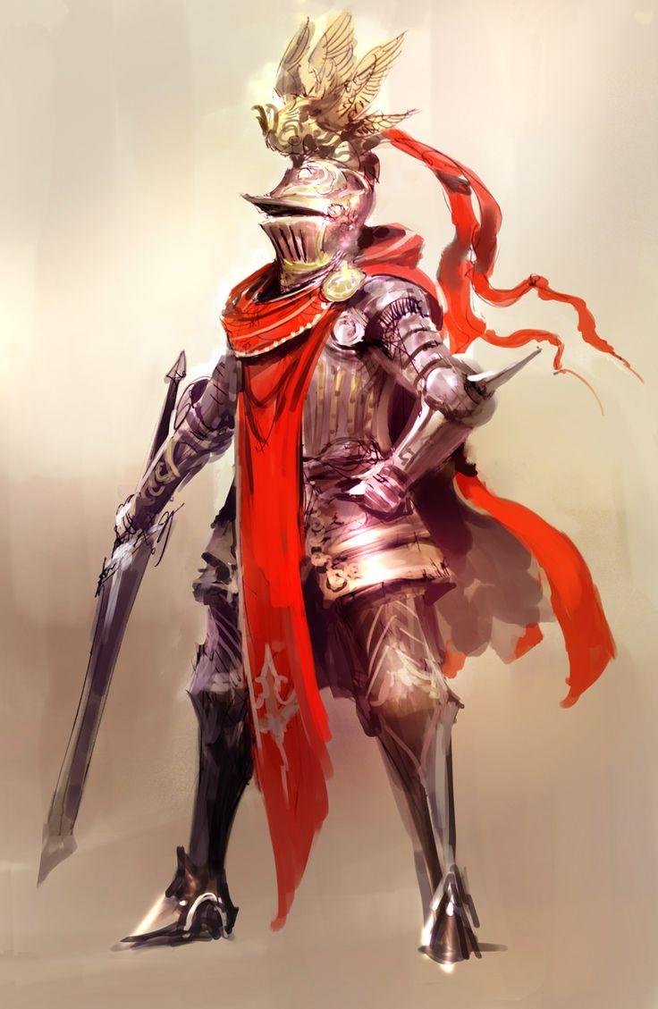 Lady Knight, digital over sketch
