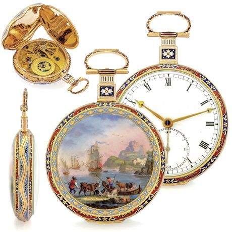 """Large Gold and Enamel Chinese Market Watch """"A Grand View of the Sea Shore,"""" the enamel in the manner of Claude Vernet (1714-1789)"""