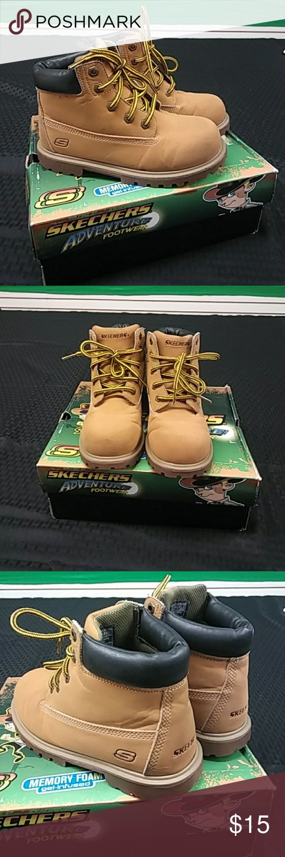 Boys Skechers Boots Kids classic wheat/ tan color boots with memory foam used in decent condition Skechers Shoes Boots
