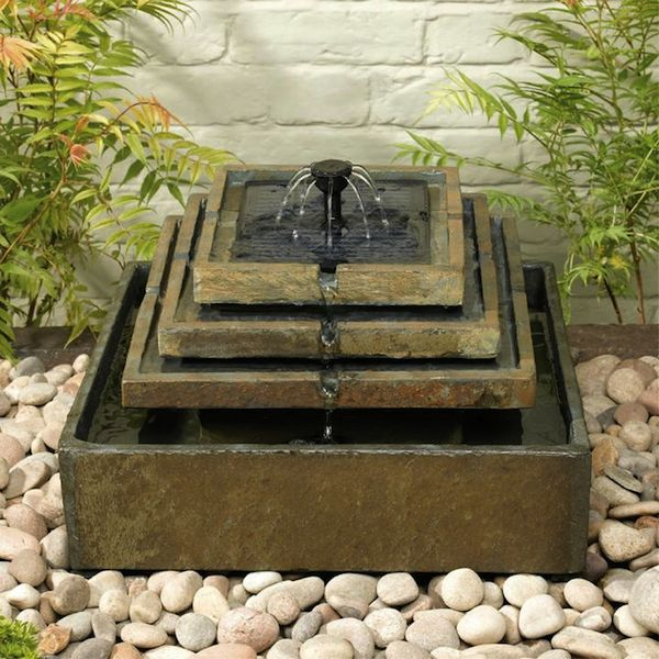 Fontaine Solaire Cascade Pierre Naturelle 4 Niveaux