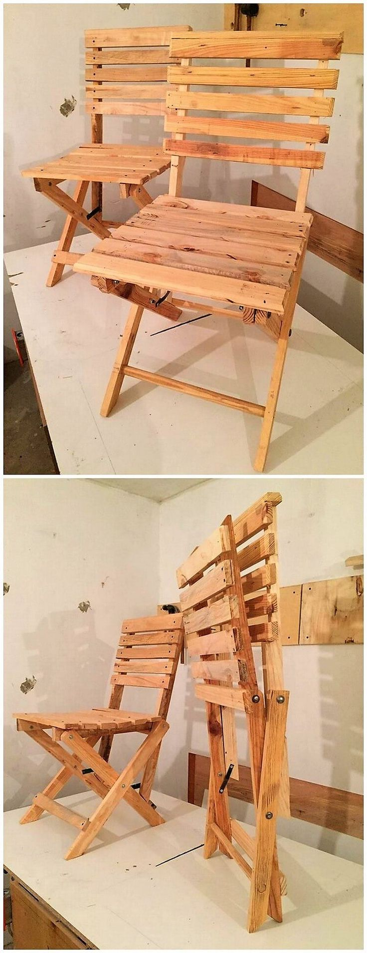 Putting an idea of folding chairs in the house decoration created out of the wood pallet is always a best idea to choose as it makes your task easy enough to move it from one place to another. This idea of the wood pallet folding chairs will turn out to be so impressive looking.