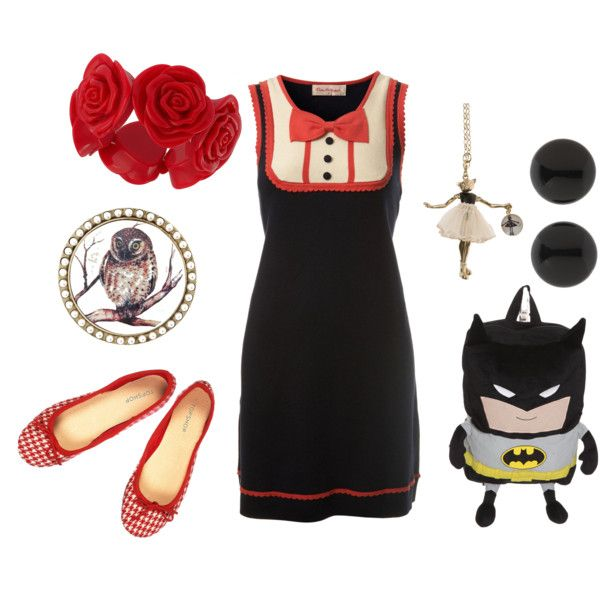 The Red Bow by kikajit on Polyvore featuring Miss Selfridge, ELSE, Betsey Johnson and Servane Gaxotte