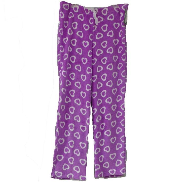 Plush Lounge Sleep Pants Purple White Hearts XL Valentines Hotel Spa Collection #HotelSpaCollection #LoungePantsSleepShorts