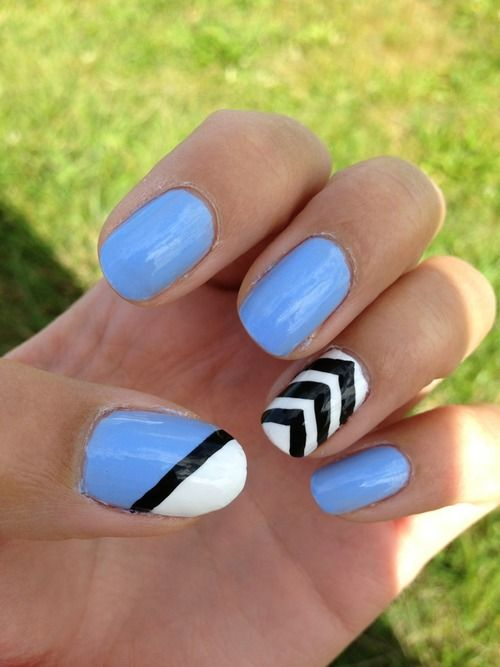 Chevron nails, essie bikini so teeny, periwinkle nail art