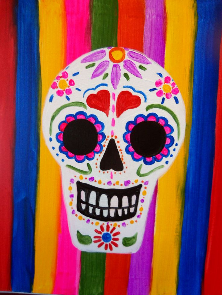 This bright and colorful sugar skull is fun for everyone to paint! Try adding your own personal details and touched to really make it your own.