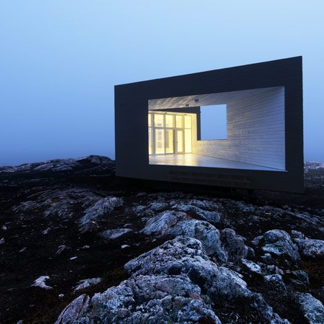 Saunders Architecture of Norway have recently completed the first of six artists' studios on Fogo Island off the coast of Canada (photographs by Bent René Synnevåg). Similar to local fisherman's houses, the studio sits on stilts and is clad in rough-sawn pine and whitewashed spruce on the interior. The prefabricated timber construction is intended to