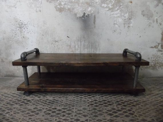 Industrial style TV stand. Would also make a great coffee table. Made from sturdy steel and reclaimed timber, finished in a stunning Jacobean