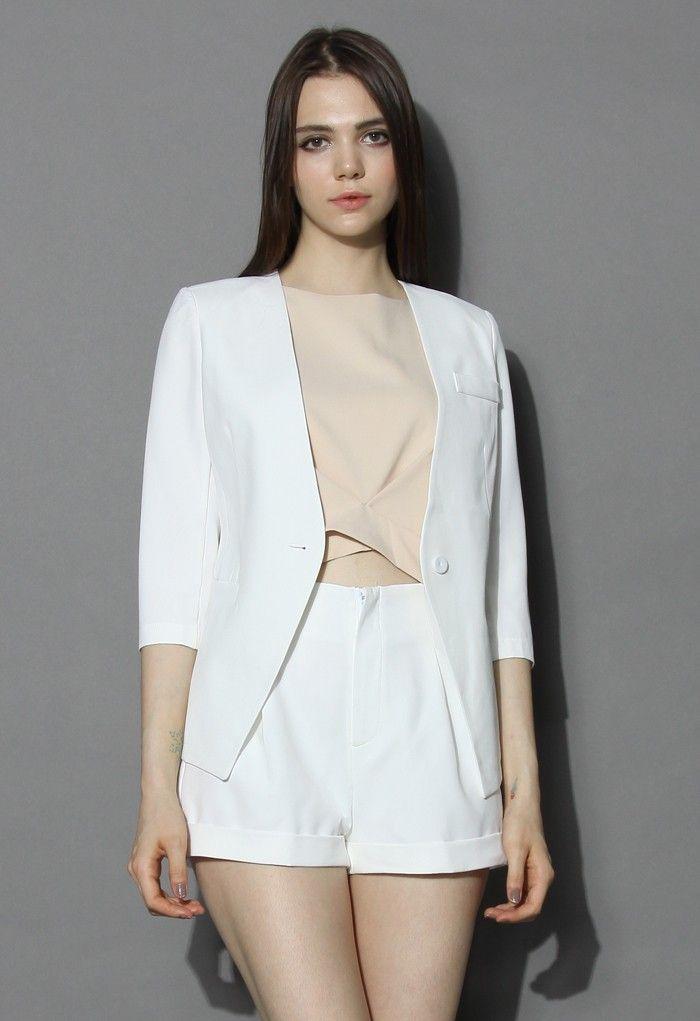 White Blazer and Shorts Set