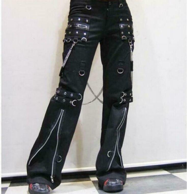 Designer rare mad punk women pants punk bondage laces