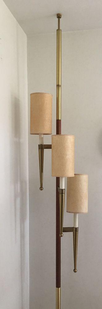 Mid Century Stiffel Tension Pole Lamp Vintage Lighting Fiberglass Shades