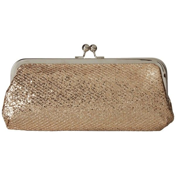 Touch Ups Farah Clutch (Champagne) Handbags ($25) ❤ liked on Polyvore featuring bags, handbags, clutches, hand bags, embossed handbags, faux leather purses, vegan hand bags and metallic clutches