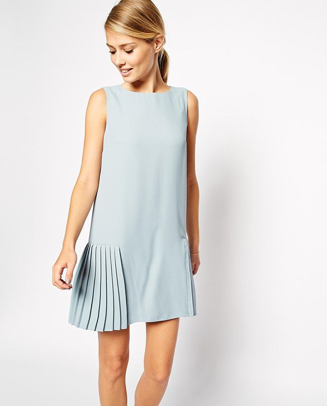 Love the pleated detail on this drop waist dress.